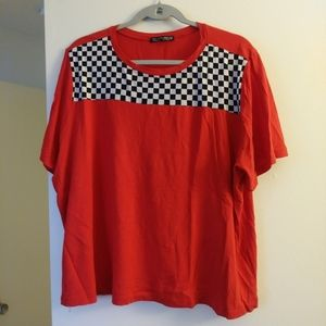 Red plus size checkered shirt